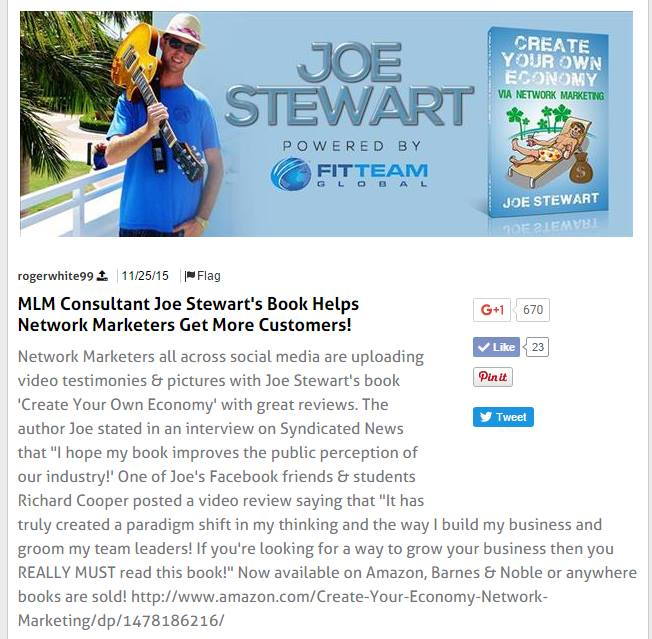 Author of Create Your Own Economy Network Marketing By Joe Stewart FITTEAM Global Leader
