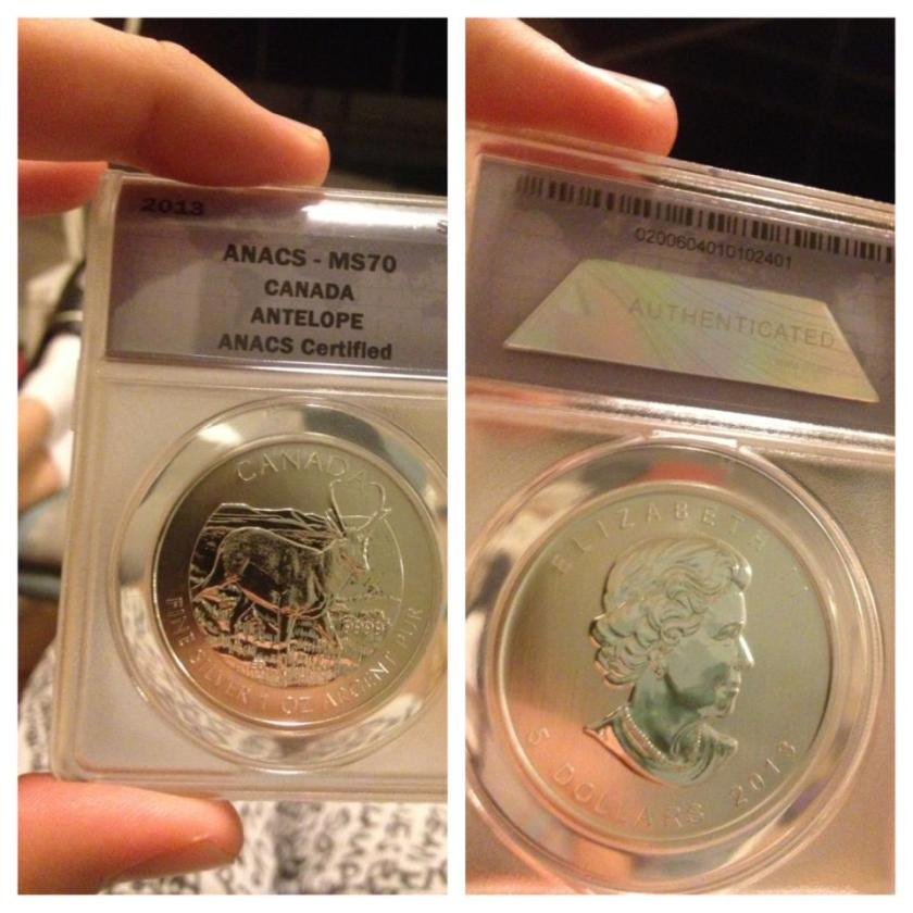 2013 canadian antelope coin graded
